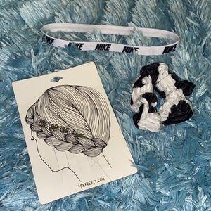 3 count hair accessories bundle scrunchie clip